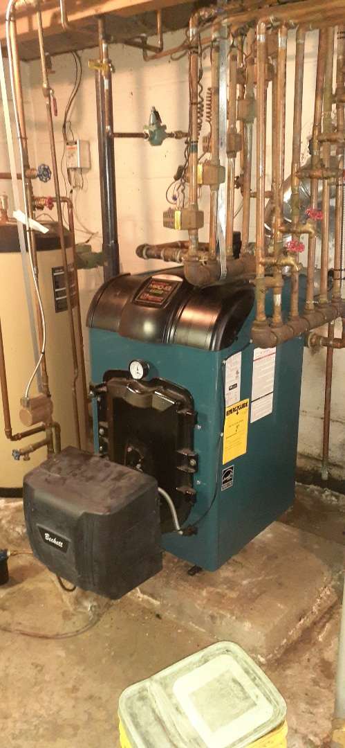 Morrisville, PA - Performed oil tune-up on a Burnham mpo boiler and and ac tune up on a cocaine ac unit in Yardley PA