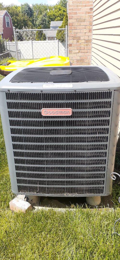 Bensalem, PA - Performed level to inspection on Goodman heat pump and fireplace in Bensalem PA