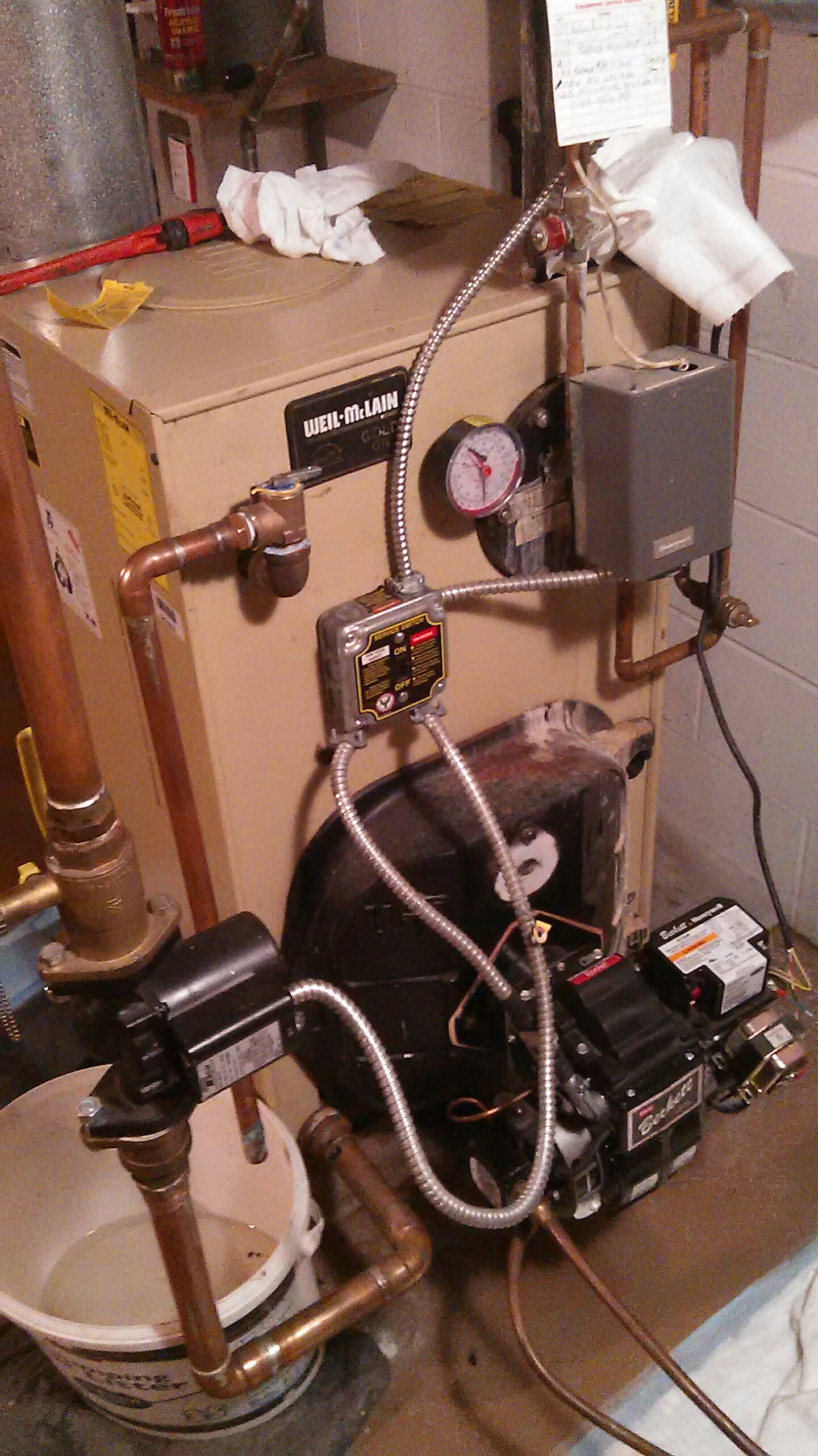 Doylestown, PA - Performed a oil burner tune up as well as replacing a leaking pressure relief valve on a P-wtgo-4 Weil McLain boiler.