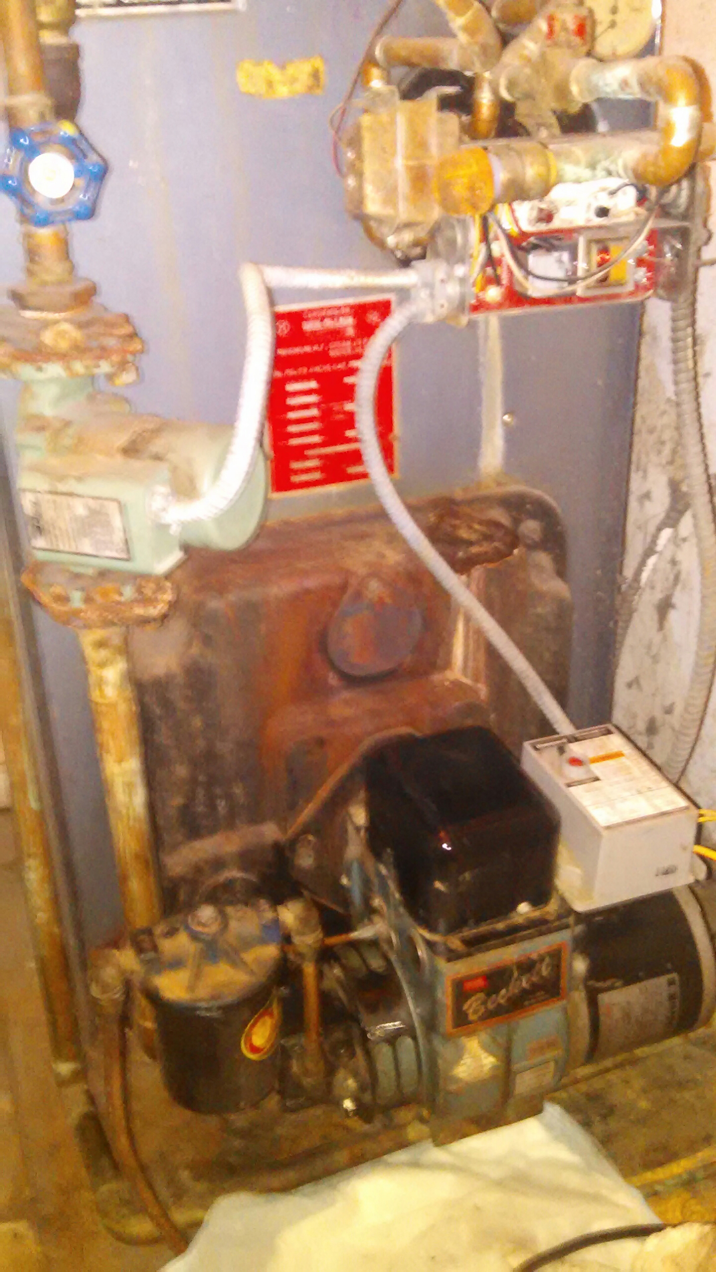 Croydon, PA - Performed a preseason oil burner clean out on a Weil McLain blue boiler.