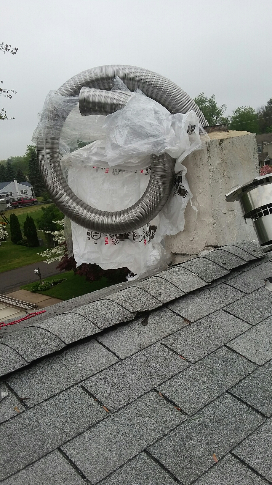 Bristol, PA - Installed a new ss chimney liner.