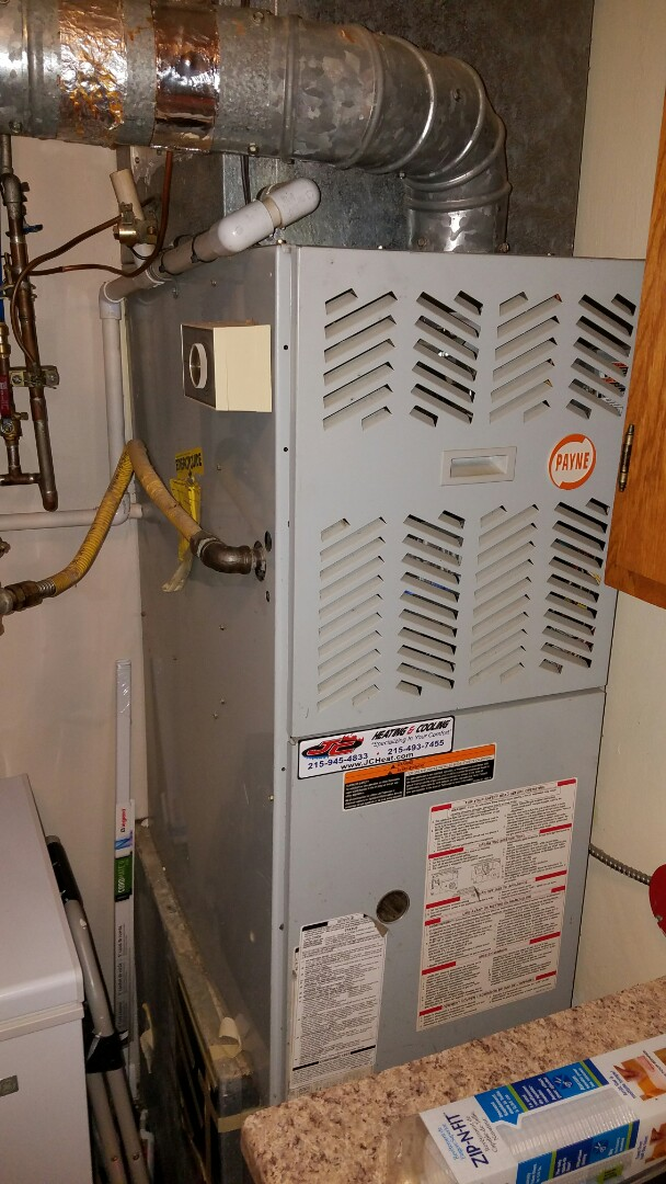 Bensalem, PA - Gas furnace repair in Bensalem PA. Emergency no heat service call, replace a bad hot surface ignitor on a Payne model gas furnace in Bensalem PA