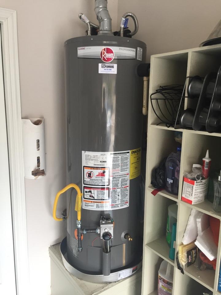 Install Rheem, 50 gallon gas water heater in garage