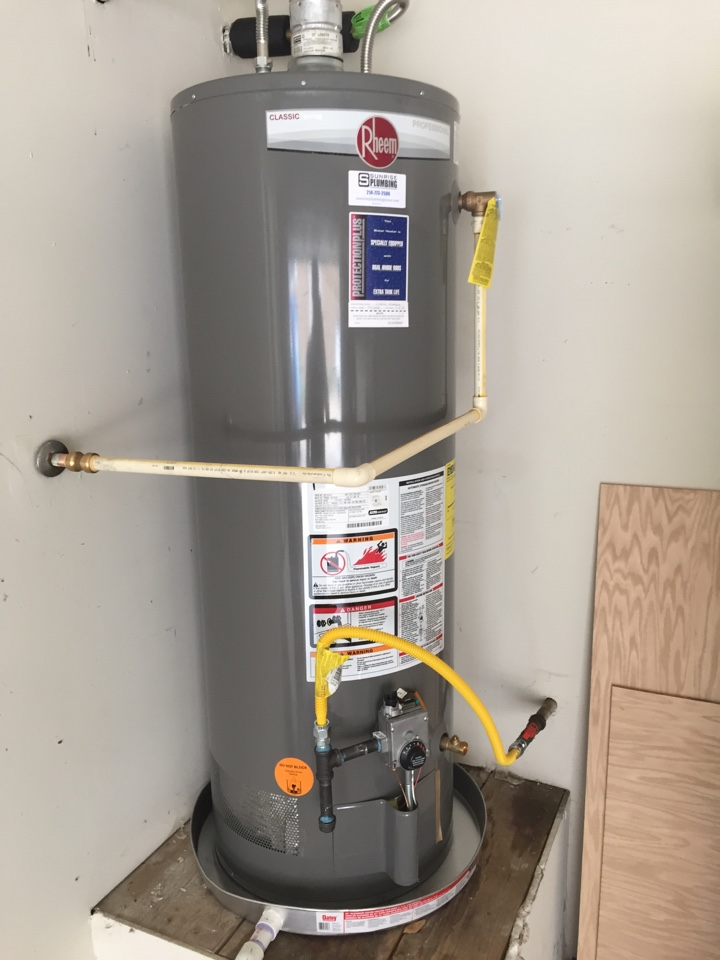 Install new 50 gallon gas water heater in garage with 10 year warranty. Murphy Plumber