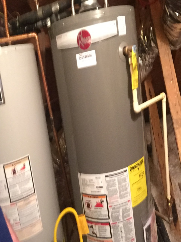 Install 50 gallon gas water heater upstairs attic. Murphy plumbers