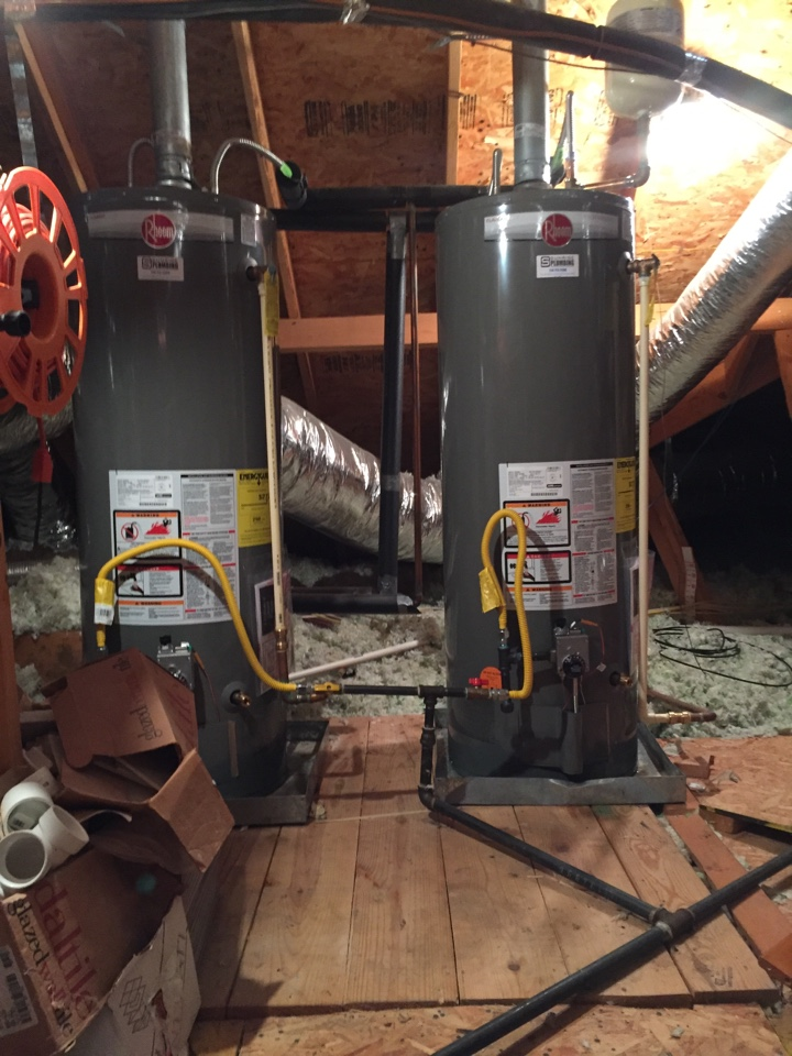 Install two new 50 gallon gas water heater's and upstairs attic