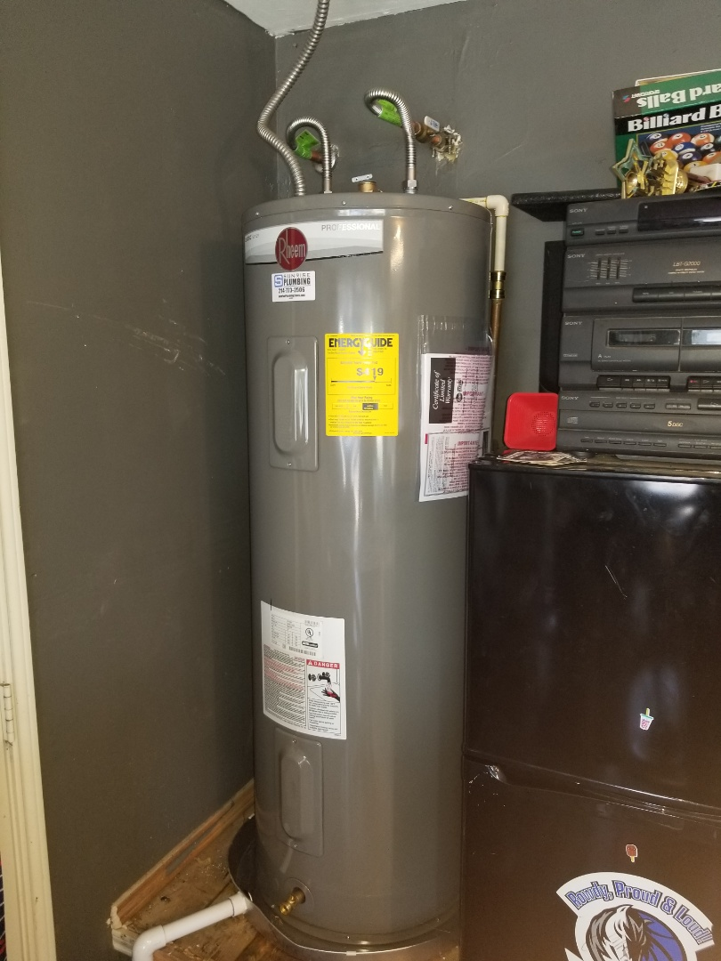 Water heater and garage is leaking from bottom. Need repair. Install new 50 gallon electric water heater with drain Pan and drain Pan line. Wylie plumbers
