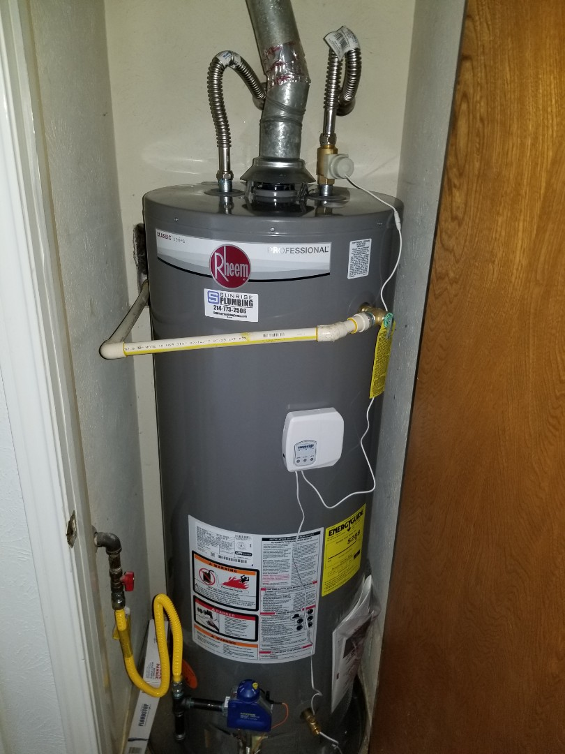 Water heater and hallway closet is leaking need repair. Install new 50 gallon gas water heater with flood stop device. Plano plumbers