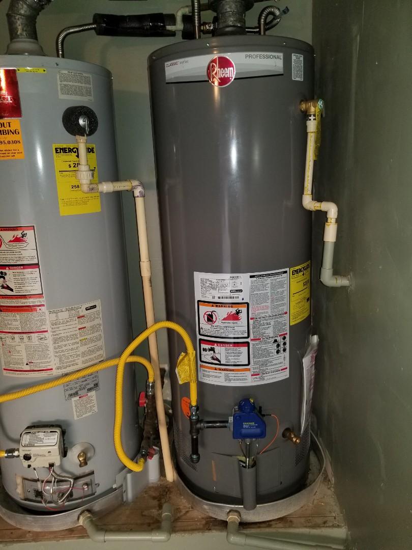 Water heater in garage is leaking. Need repair.  Install new 50 gallon gas water heater. Wylie plumbers
