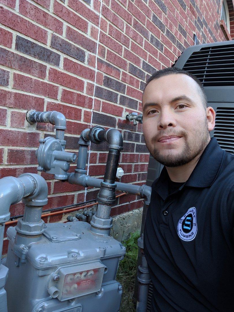 Gas leak needs repair. Repair gas leak outside near meter.