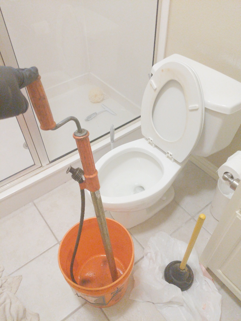 Toilet clogged. Auger toilet to clear clog.