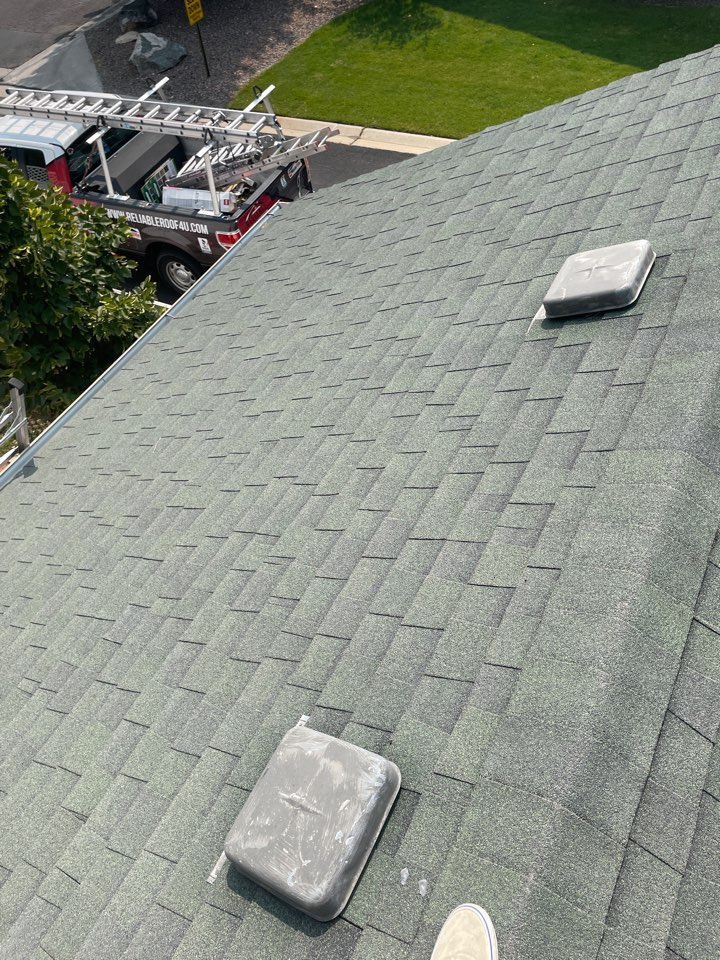 Broomfield, CO - Today team Reliable Roofing and Restoration is inspecting a roof that was hit with hail here in Westminster Colorado. The shingle is an old Tamko Heritage in the color forest green. Give us a call today for your free roof evaluation.