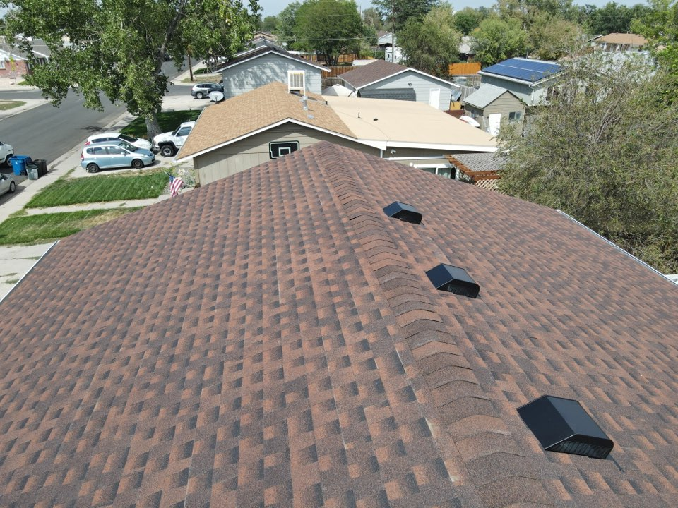 Brighton, CO - Reliable Roofing and Restoration. Just reroofed this house that sustained hail damage. We removed the damaged Owens Corning shingles and replaced them with an upgraded class 4 hail resistant GAF Armor-Shield shingle. Whatever your roofing needs are please give us a call today. Have a safe Labor Day weekend!