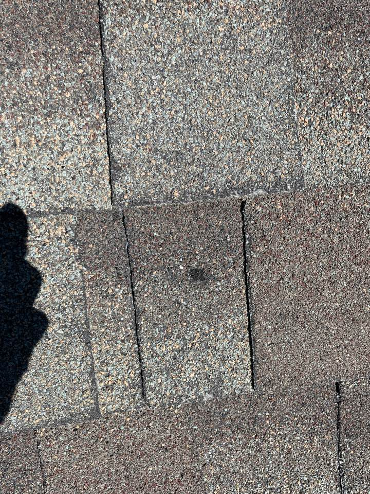 Westminster, CO - Here is what hail damage looks like on an asphalt shingle. The hail that came through Westminster Colorado was about the size of a ping-pong ball with a lot of wind driving it. Give the team at Reliable Roofing and Restoration a call today for your free roof and property inspection.