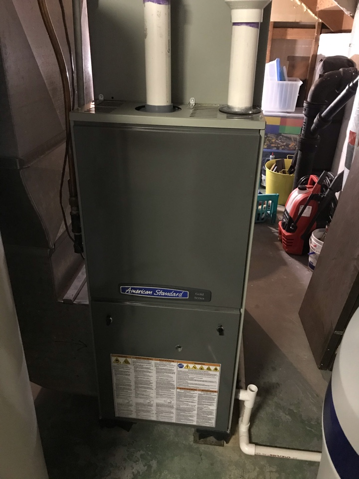 Performed cleaning and tune up on American Standard furnace.