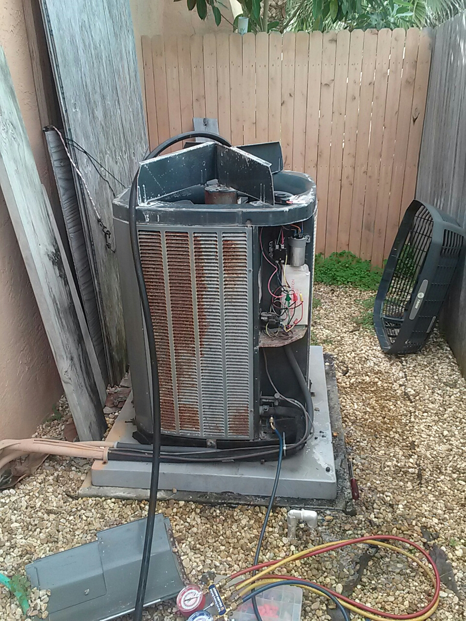 Cocoa Beach, FL - Air conditioning service call and repair on residential split system.