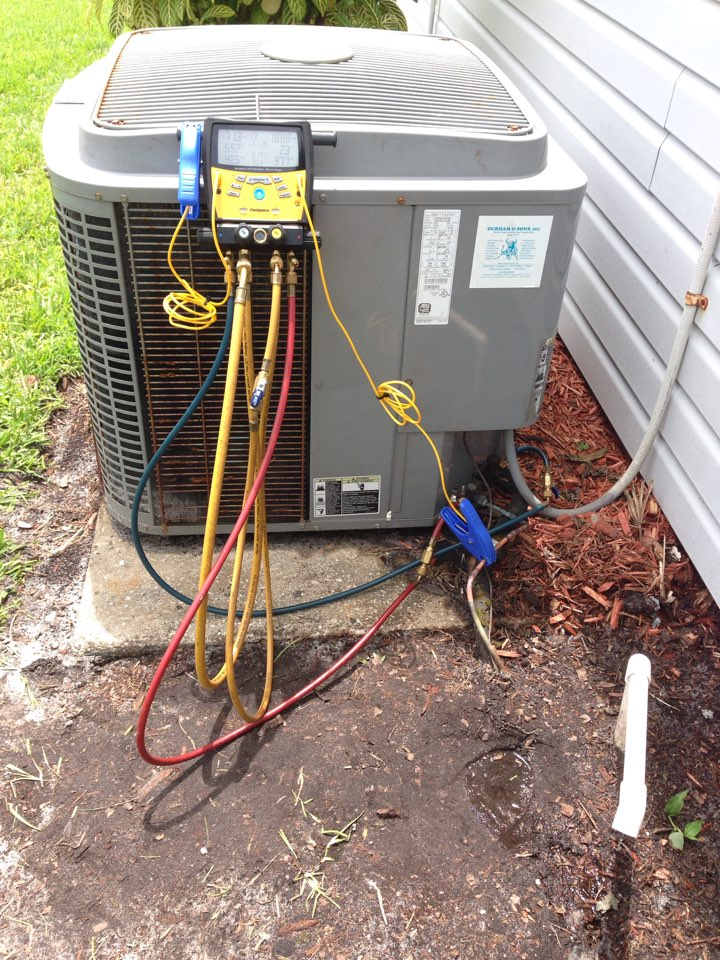 Palm Bay, FL - Air conditioning service call and repair. Perform leak search and repair on 3-ton ICP condenser with leaking filter dryer.