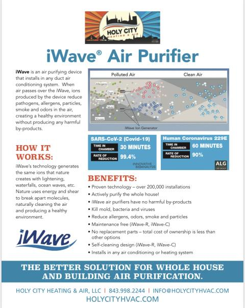 Johns Island, SC - Installation iWave Indoor Air Quality (IAQ) products