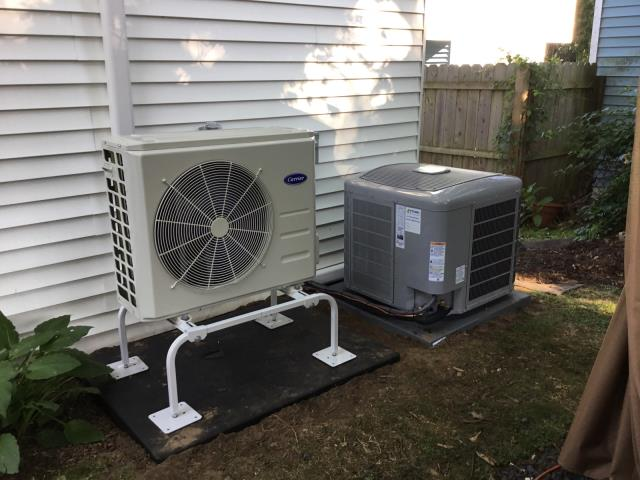 Milford, CT - Installed a Carrier Infinity 2 Ton 16 SEER Residential Air Conditioner, Carrier Infinity Evaporator Coil, Carrier 18000 BTU Ductless Heat Pump with a High Wall Indoor Air Handler.
