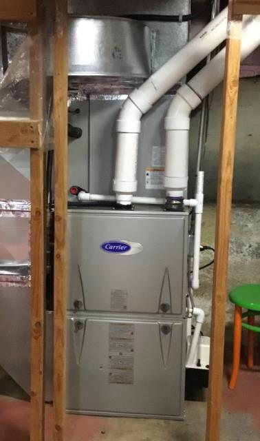 Milford, CT - Replaced a broken gas furnace and installed a new Carrier 96% Efficient 100000 BTU 2 Stage Variable Speed Gas Furnace, 3.5 TON 16 SEER Carrier Central Air Conditioning System with a Carrier Cor Smart Thermostat, and replaced a water heater with an AO Smith Natural Gas 50 Gallon Water Heater.