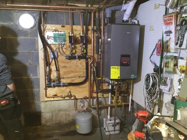 New Canaan, CT - Converted customer from Oil to Natural Gas and installed a Lochinvar Combi 105 BTU NKC110 Combi Boiler.