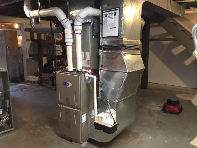 Norwalk, CT - Installed a Carrier Performance 96% AFUE 80000 BTUH 2 Stage Variable Speed Multipoise Gas Furnace 59TP6A080E17-16,  Carrier Performance 2.5 Ton 16 SEER Air Conditioning System with a Carrier Ecobee Thermostat