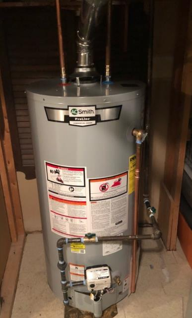 Stratford, CT - Installed an AO Smith 40 Gallon Gas Water Heater Model GCRL-40