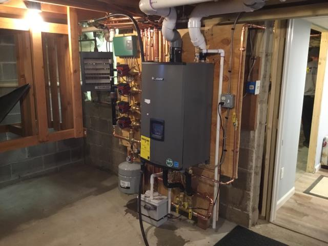 Milford, CT - Installed a Lochinvar Combi 105 BTU Gas Boiler NKC110 and Honeywell Thermostat.