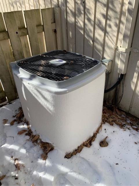 Weston, CT - Found the heat pump condenser frozen solid