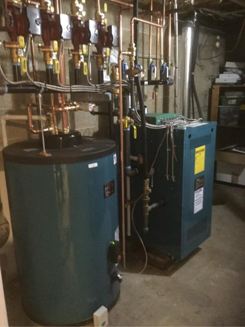 Westport, CT - Installed a Burnham 140 BTU Gas Boiler X-205 and a Burnham 50 Gallon Indirect Water Heater AL50SL