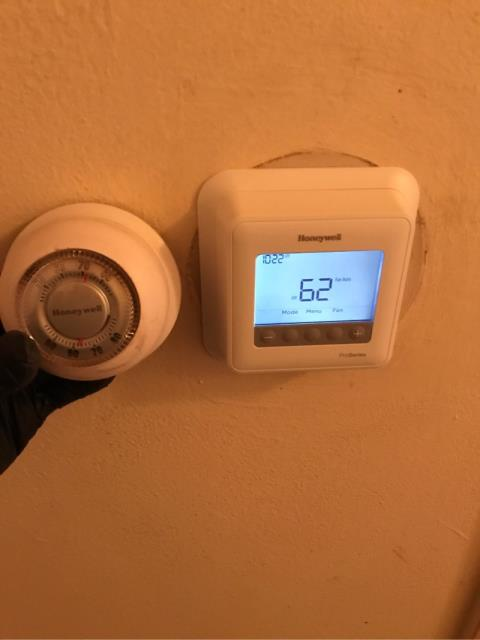 Fairfield, CT - Replaced a nonfunctional thermostat with a basic Honeywell T4 thermostat.