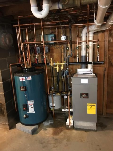 Trumbull, CT - Installed a Burnham 105 BTU Gas Boiler with a Burnham 35 Gallon Indirect Water Heater.
