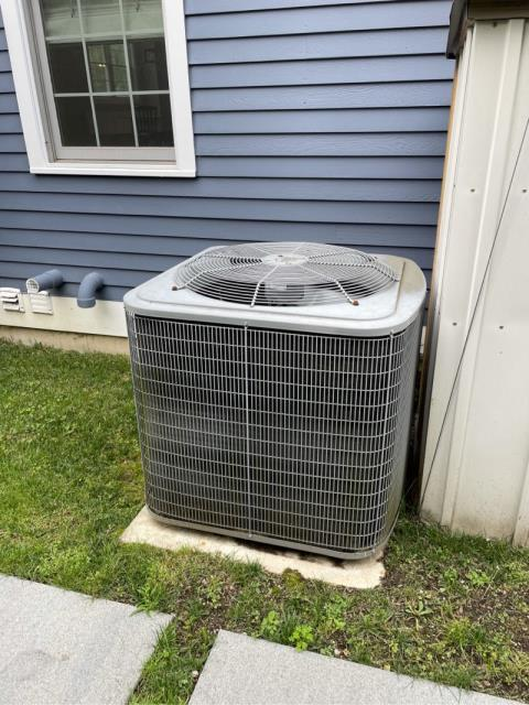 Fairfield, CT - Performed Summer maintenance on air conditioning condenser. Found rusted out capacitor, replaced with new.