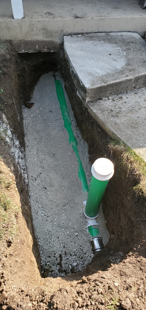 Sewer repair with Outside cleanout