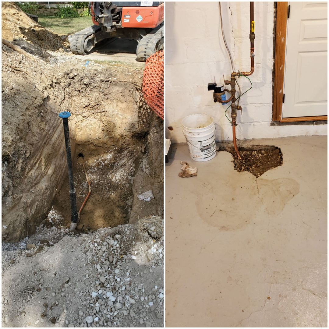 New directional bore of a new water service line