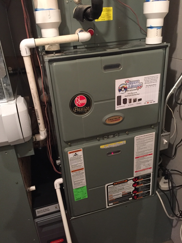 South Jordan, UT - Tuning up a Rheem furnace and also repairing a leaking condensate trap.