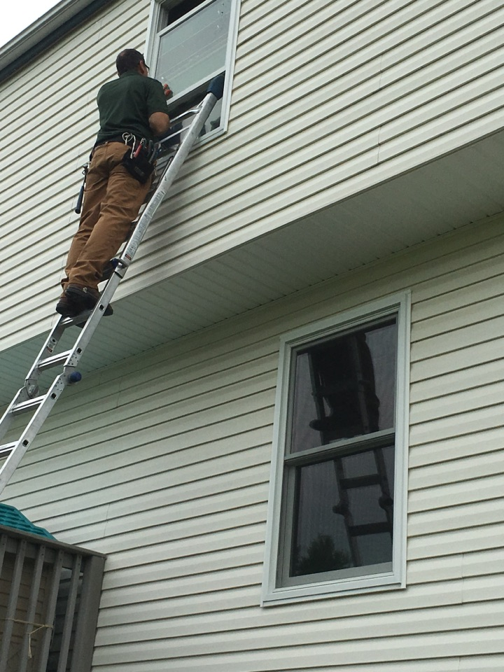 New Kensington, PA - New Renewal by Andersen replacement windows being trimmed out and finished. Looks great!!