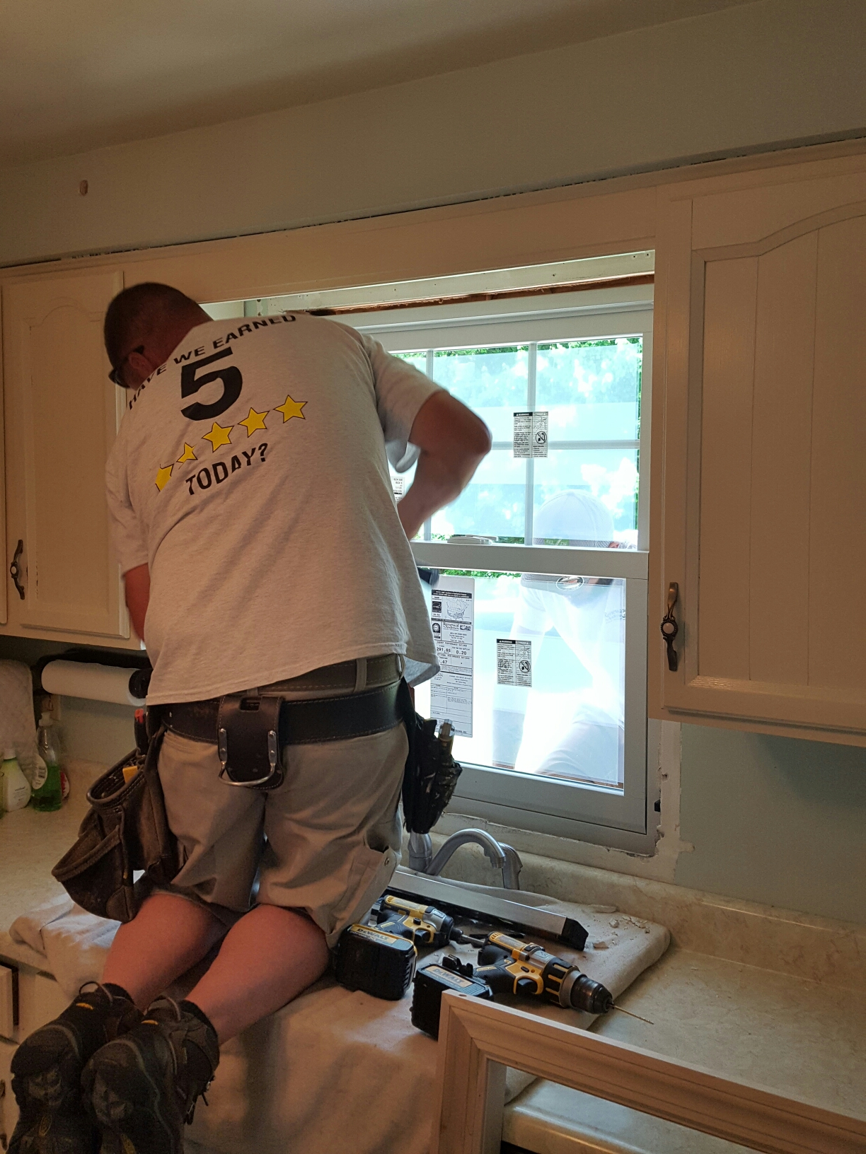 Irwin, PA - Master certified installer, Scott, putting in a beautiful double hung window replacement. Renewal by Andersen windows look so nice!