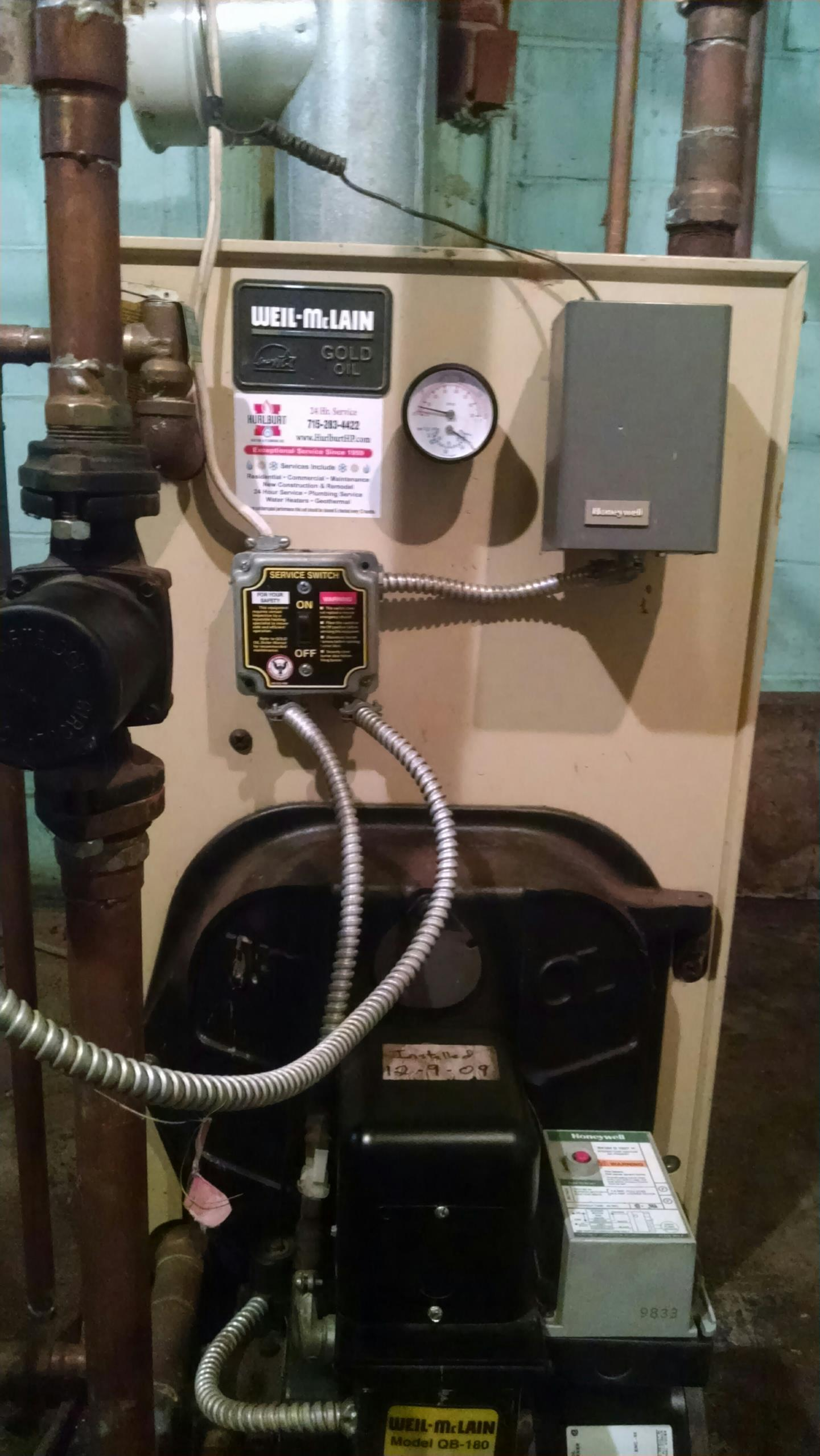 Nelson, WI - Servicing an oil boiler