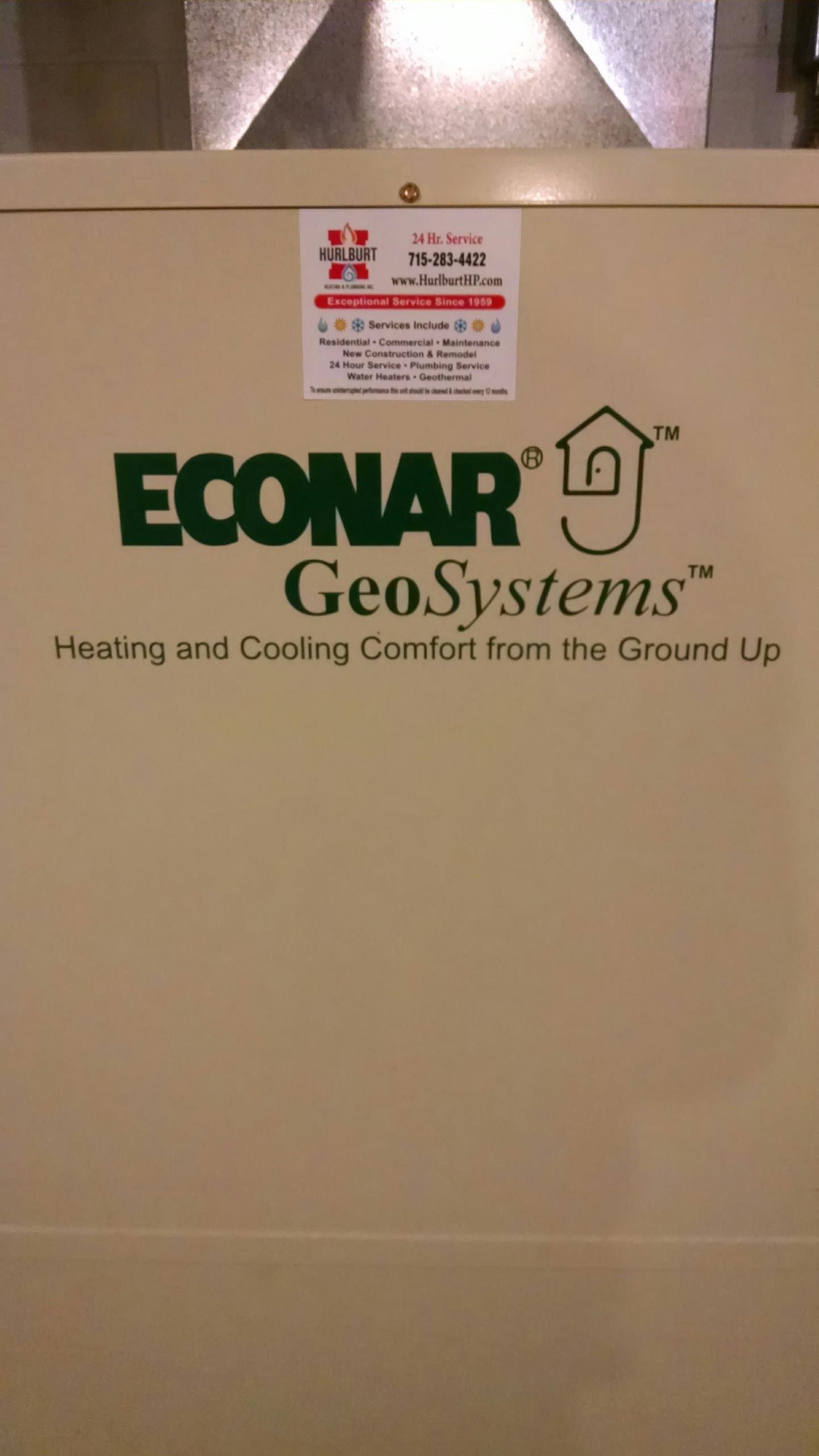 Elmwood, WI - Just repaired an Econar Geothermal unit.