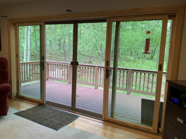 Lehman township, PA - Today I visited a recent install of a 4 panel gliding patio door. If you look closely, you might be able to see the Mama Bear and her cubs who joined me on my visit!