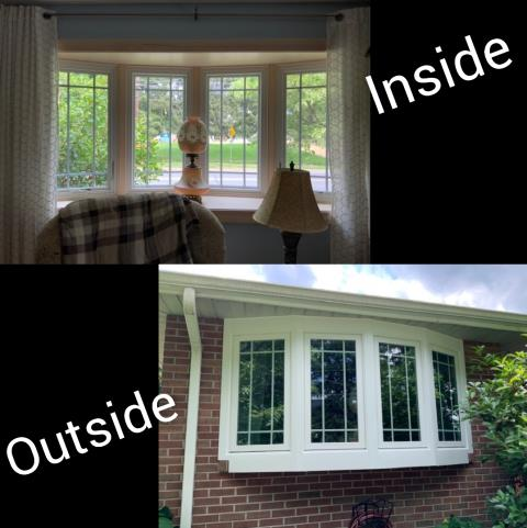 Northampton, PA - Gorgeous bow window (2 casements & 2 picture windows) was installed replacing 3 double hung windows. Homeowners chose the Prairie Grilles, Interior window color: White along with the Exterior Frame color being White Interior Trim: Pine