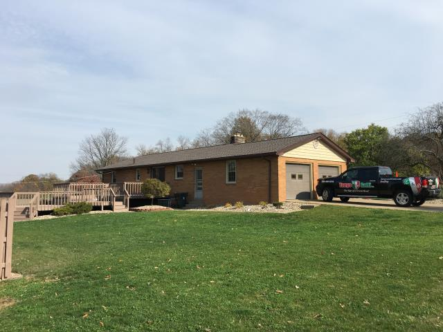Strasburg, OH - Installed GAF mission brown Timberline HD shingle roof, installed royal brown gutters and downspouts, and power-washed and painted pool fence and deck.