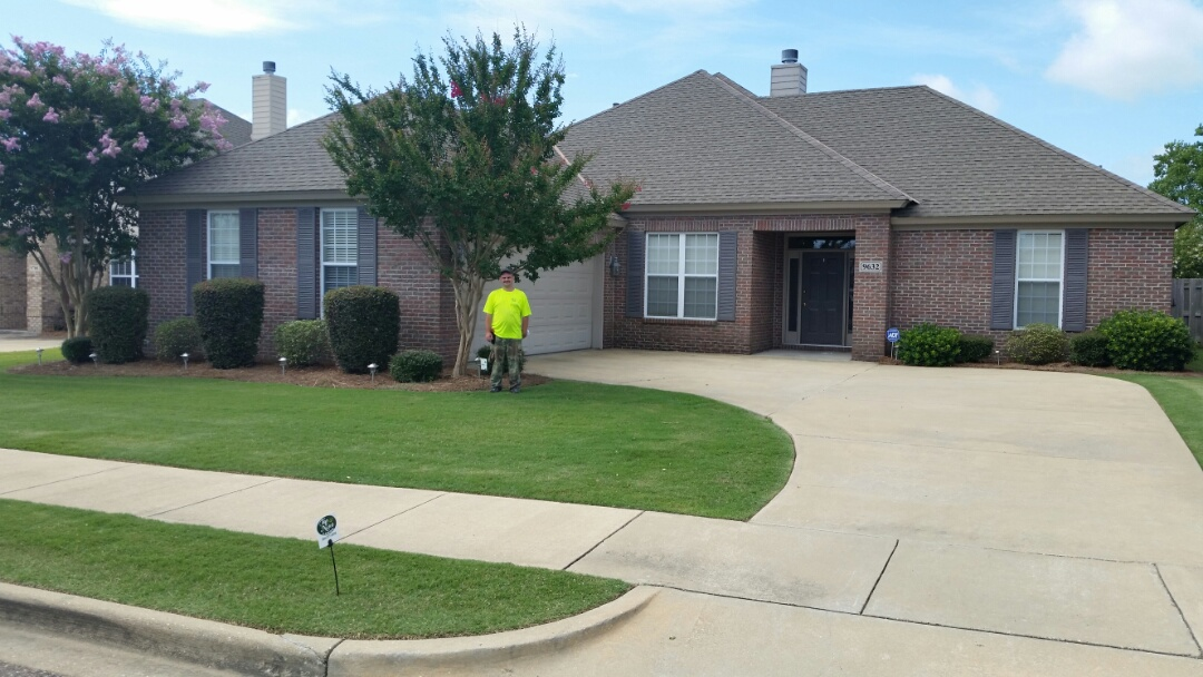 Montgomery, AL - Employee of the Month Chris Salter completing Horticulture clean up at new property in Deer Creek lawn maintenance tree and shrub insect and Disease Control application and Horticulture services thank you Chris
