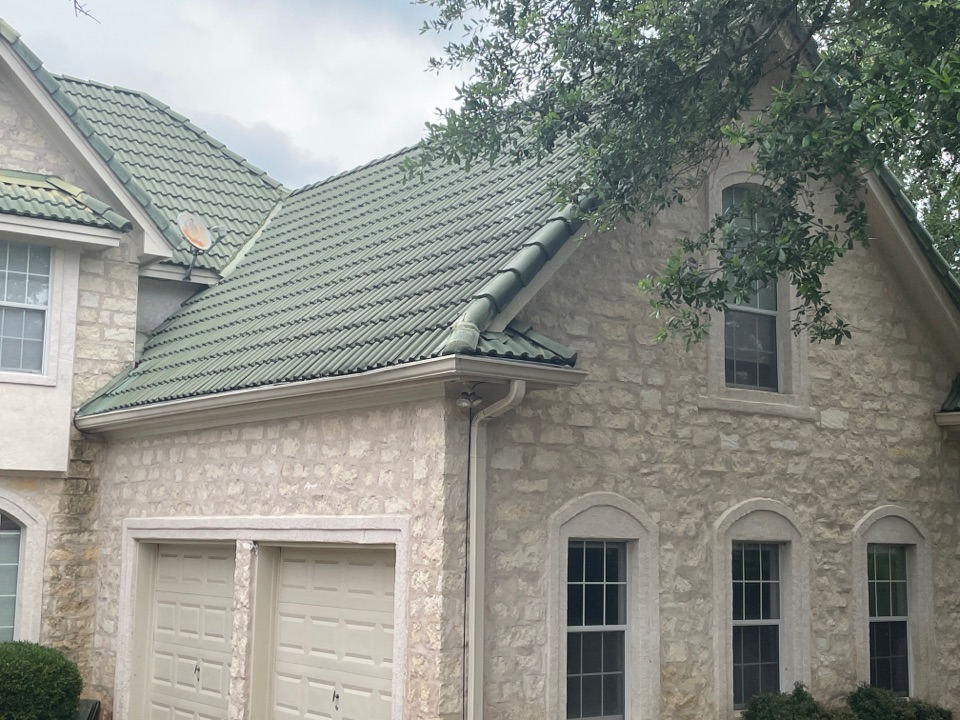 Horseshoe Bay, TX - Residential tile roof repair. Removed rooftiles and located leak. Repairs roof leak and replaced roof  tiles. Installed ice and water shield in affected areas.