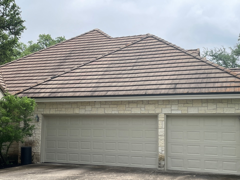 Horseshoe Bay, TX - Residential concrete tiles Roof repair.  Removed, repaired leaks, and reset concrete lifetimes.