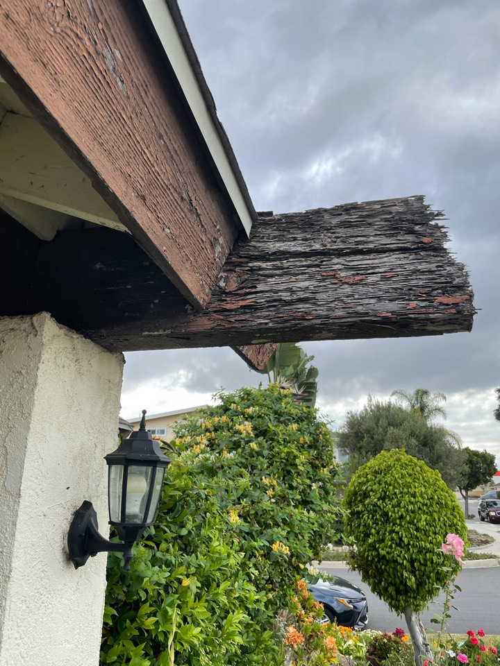 Dry rot and dry wood termites located in the fascias and wood beams.