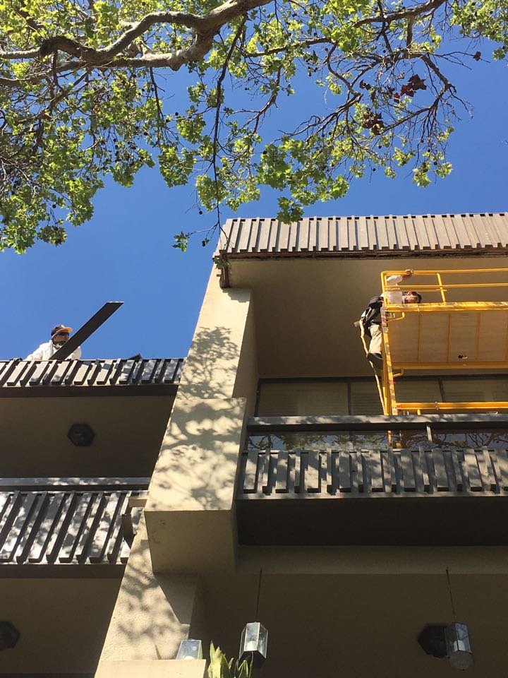 Termite wood replace the being completed at a apartment complex