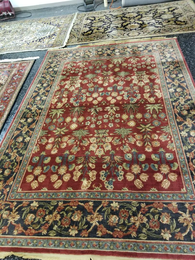 Beautiful wool area rug, cleaned and treated by technician Billy. Area rug was picked up from the North side of Chicago. Treated for pet odor and general soil build up in the rug.