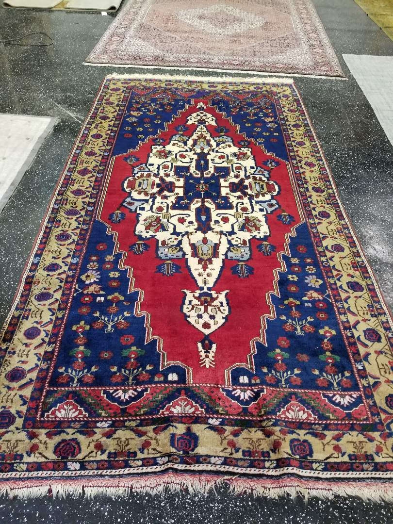 Delicate Persian wool area rug that was cleaned and treated for pet urine. Jerry, technician, treated this wool rug with Organic sanitizer and steam cleaning. Odor has been removed and color has been brightened to restore vibrancy of rug.